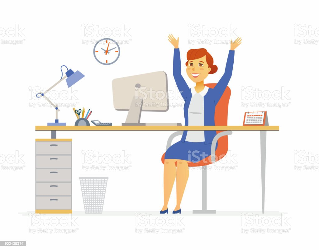 Happy Office Worker Modern Cartoon People Characters Illustration Stock Illustration Download Image Now Istock