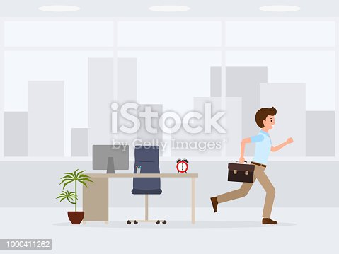 Happy office worker running away from job cartoon character. Vector illustration of end of working day