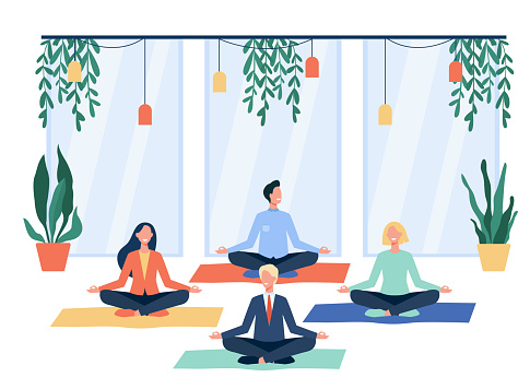 Happy office workers doing yoga