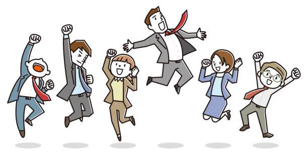 stockillustraties, clipart, cartoons en iconen met gelukkig office werknemers springen. - alleen japans