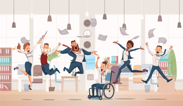 Happy Office Workers Jumping. Vector Illustration. Happy Office Workers Jumping up. Office Fun. People Work in Office. Happy Workers in Workplace. Corporate Culture in Company. Cheerful Working Day. Colleagues at Work. Vector Illustration. happy boss stock illustrations