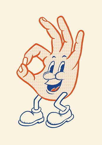happy hand saying ok in cartoon style
