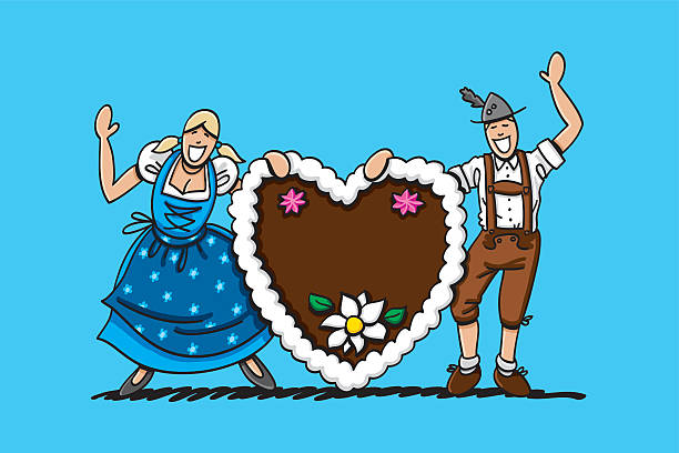 Happy Oktoberfest Couple With Gingerbread Heart Vector illustration of a waving bavarian couple in Dirndl and Lederhosen. They're holding a XXL gingerbread heart, where you can place your own text message. The line art, color and background are on separate layers, so you also can use the illustration on your own background. The colors in the .eps-file are ready for print (CMYK). Included files: EPS (v8) and Hi-Res JPG. doodle NOT black and white stock illustrations