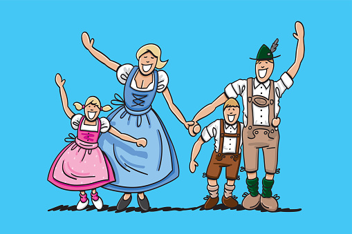 Happy Oktoberfest Family Waving Hands