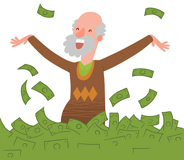 happy old bald man with beard bathing in money - old man smiling backgrounds stock illustrations, clip art, cartoons, & icons