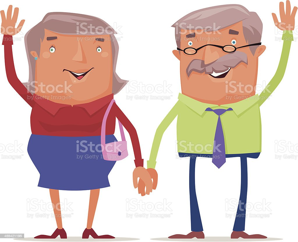 happy old couple royalty-free stock vector art