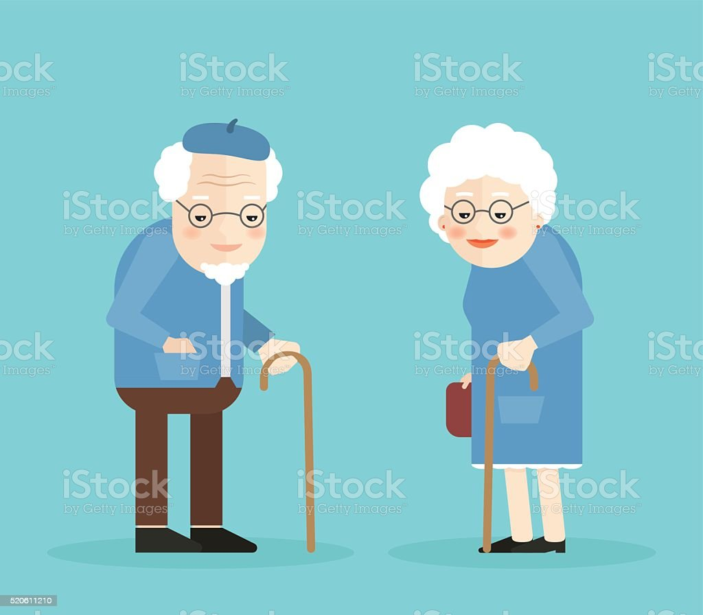 Happy old man and woman with glasses, walkins cane. vector art illustration