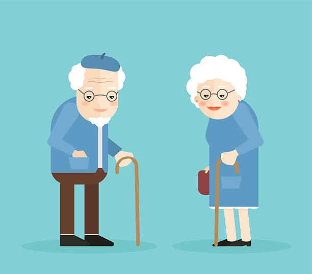 happy old man and woman with glasses, walkins cane. - old man illustration pictures stock illustrations, clip art, cartoons, & icons