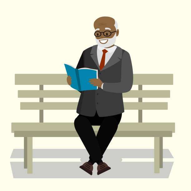 happy old man or grandfather sitting on bench and read book - old man portrait clip art stock illustrations, clip art, cartoons, & icons