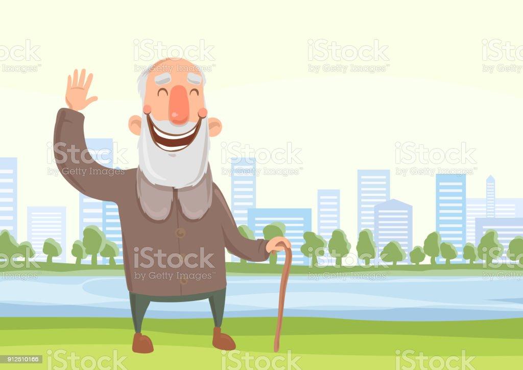 Feliz anciano con un bastón en la mañana a pie en el parque de la ciudad. Activo estilo de vida y actividades deportivas en la vejez. Ilustración de vector. - ilustración de arte vectorial