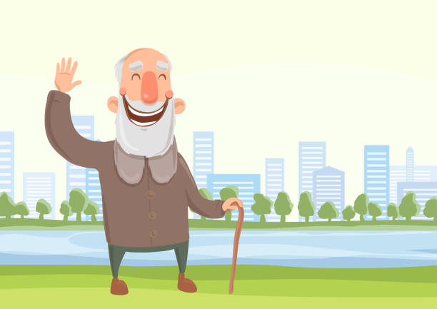 happy old man with a cane on the morning walk in city park. active lifestyle and sport activities in old age. vector illustration. - old man smiling silhouettes stock illustrations, clip art, cartoons, & icons