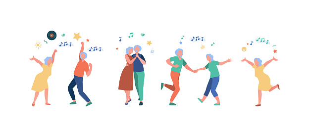 Happy old people dancing isolated flat vector illustration