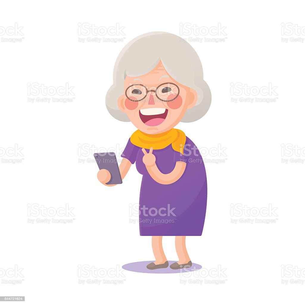 Happy Old Woman Take a Selfie vector art illustration