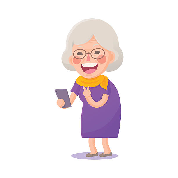 Best Grandmother Illustrations, Royalty-Free Vector ... Old Lady On Cell Phone Clip Art