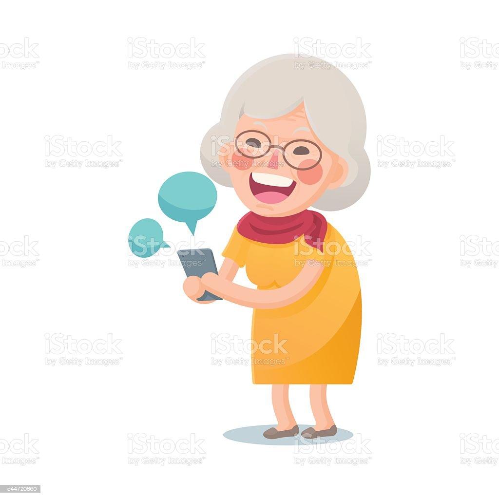 feliz viejo mujer usando teléfono inteligente - ilustración de arte vectorial