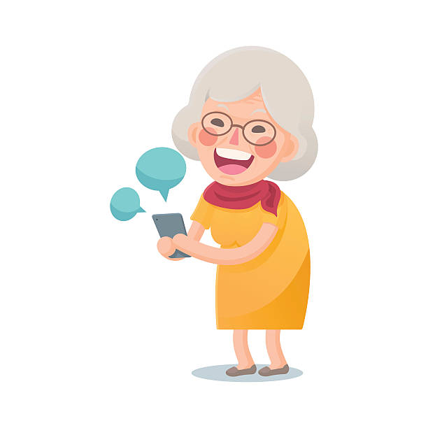 Royalty Free Seniors Laughing Clip Art, Vector Images ... Old Lady On Cell Phone Clip Art