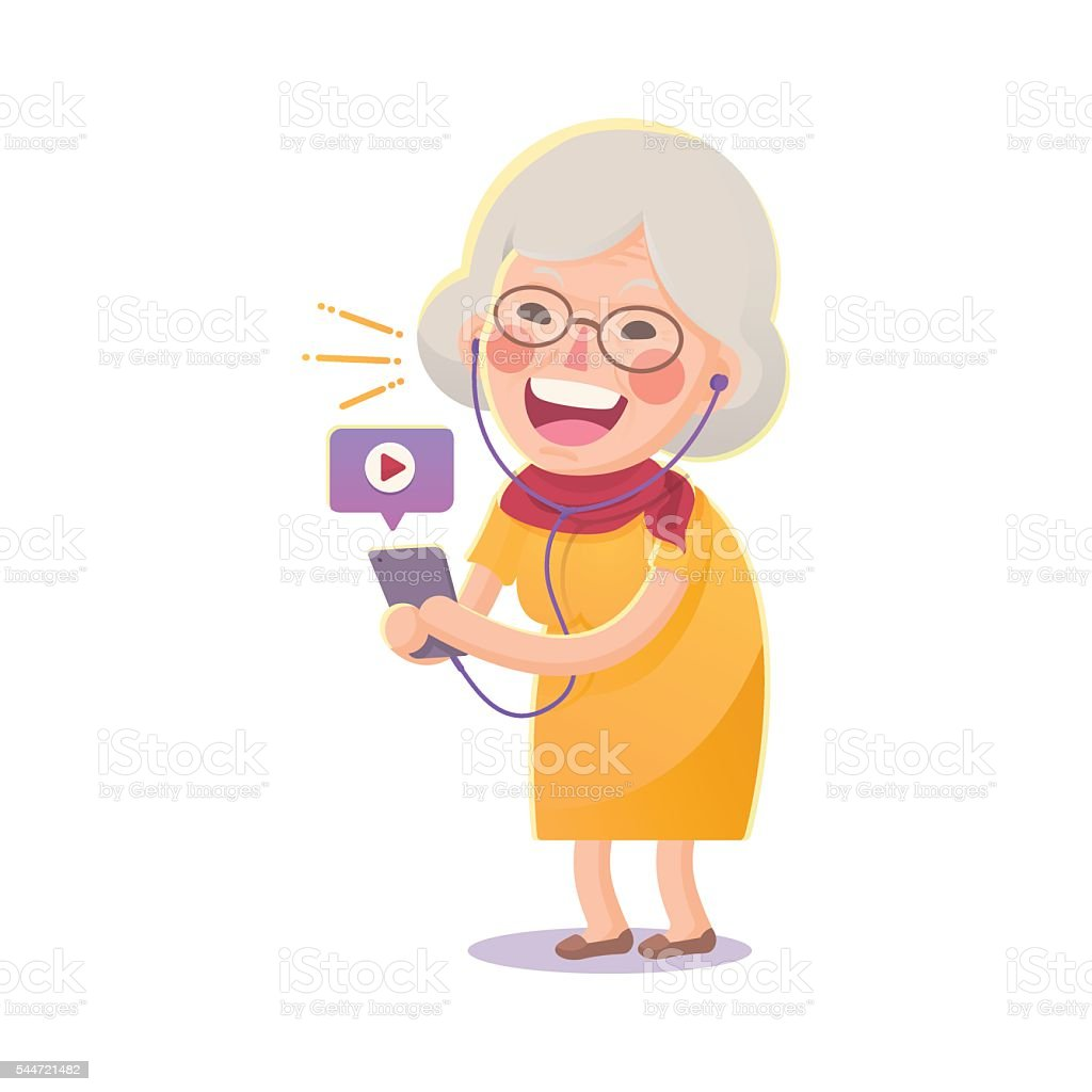 Happy Old Woman Watch Movie From Smart phone vector art illustration