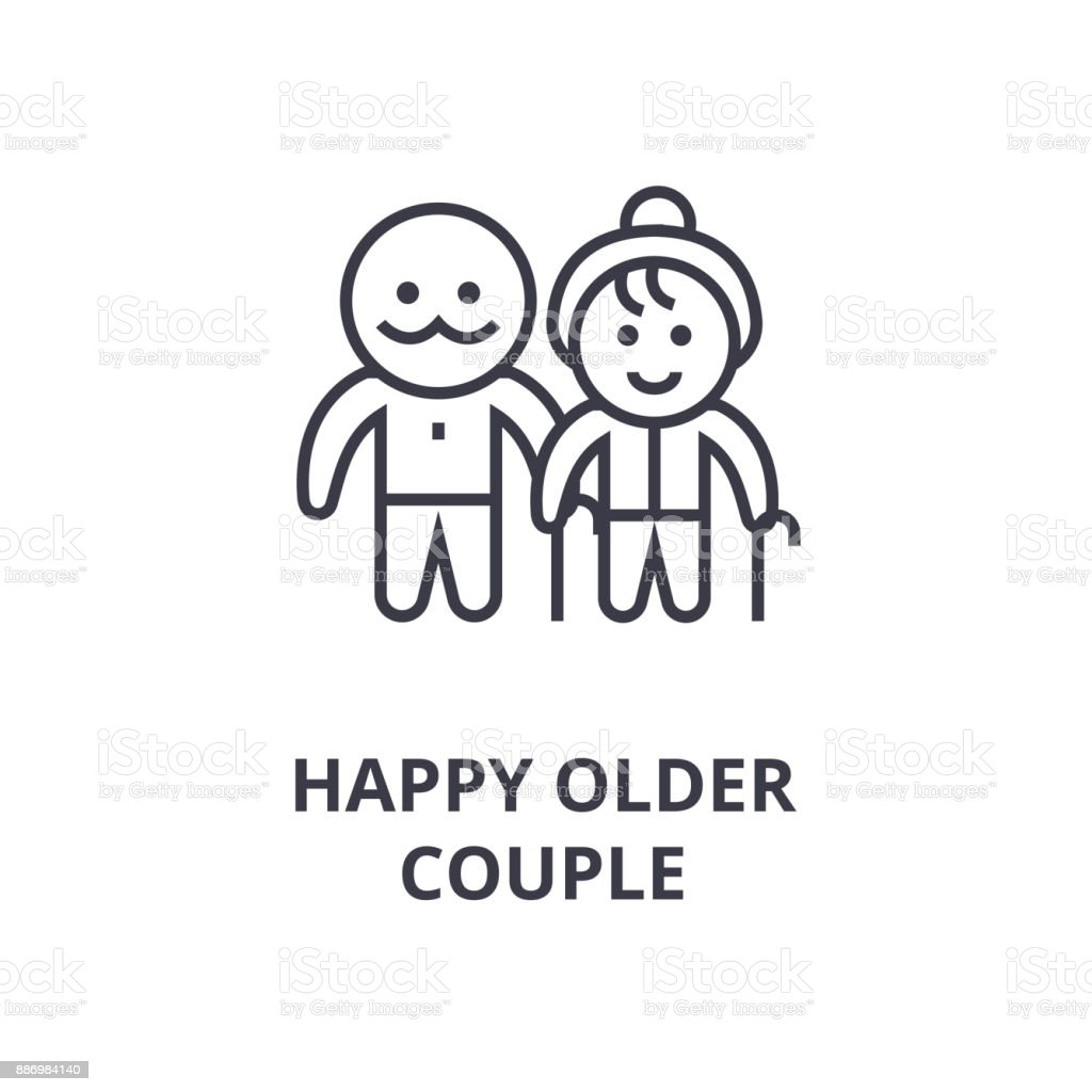 happy older couple line icon, outline sign, linear symbol, vector, flat illustration vector art illustration