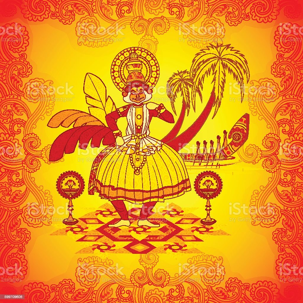 Happy Onam Background In Indian Art Style Stock Vector Art More