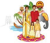 Vector design of Happy Onam background in Indian art style
