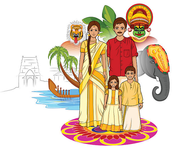 Happy Onam background in Indian art style Vector design of Happy Onam background in Indian art style indian family stock illustrations