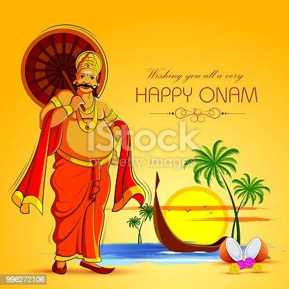 istock Happy Onam Festival background of Kerala with King Mahabali 996272106
