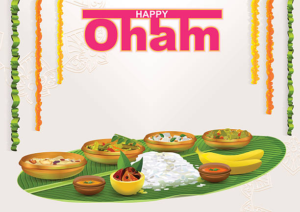 happy onam. food for hindu festival in kerala - indisches essen stock-grafiken, -clipart, -cartoons und -symbole