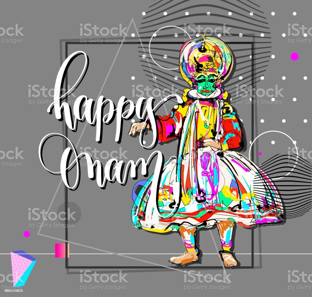 happy Onam modern greeting card in contemporary art style happy onam modern greeting card in contemporary art style - stockowe grafiki wektorowe i więcej obrazów atrament royalty-free