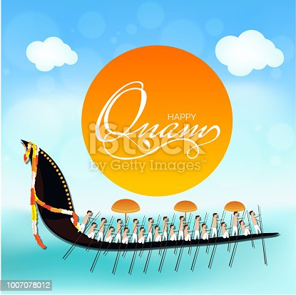 istock Happy Onam poster or banner design with illustration of South Indian people playing Vallam Kali (boat racing) at river. 1007078012