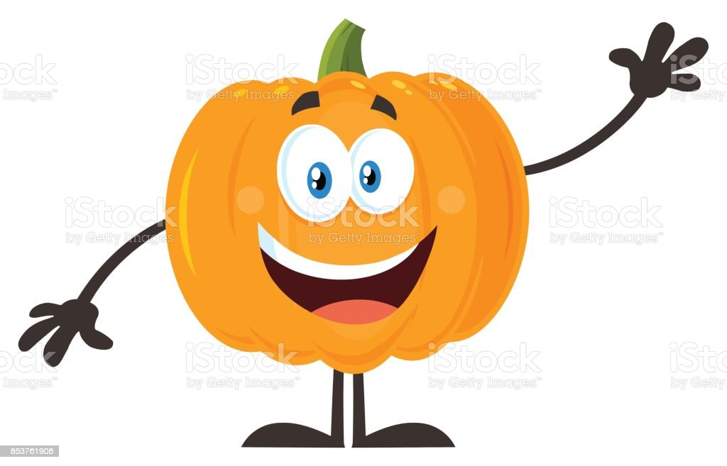 Dibujos Animados Texto Naranja: Ilustración De Verduras Calabaza Naranja Felizes De