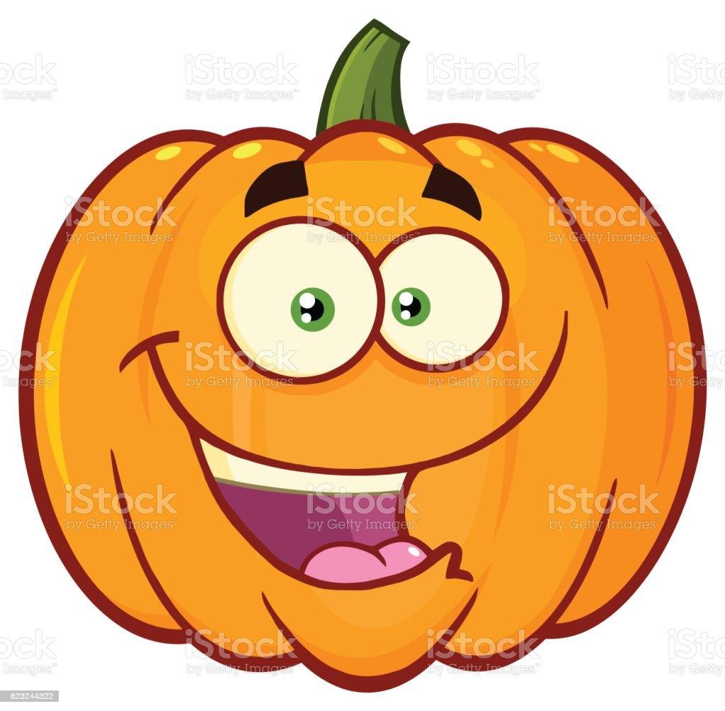 Delightful Happy Orange Pumpkin Vegetables Cartoon Emoji Face Character With Vector Id823244322