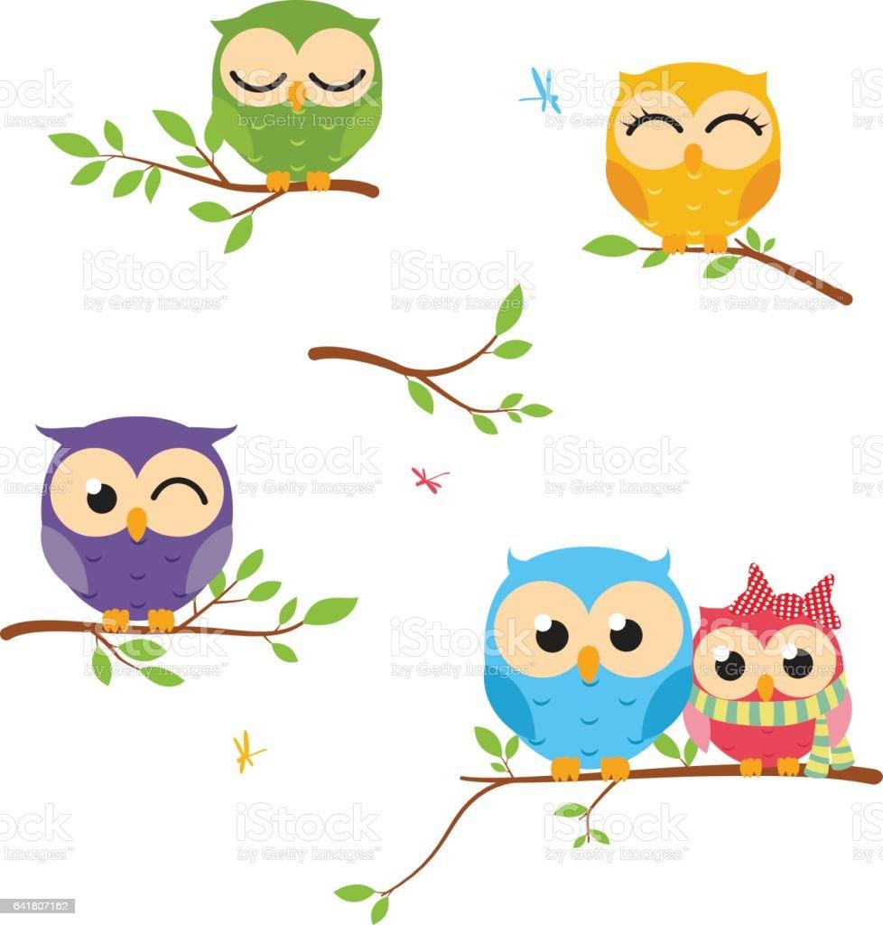 Fondo de buho feliz con rama de árbol - ilustración de arte vectorial