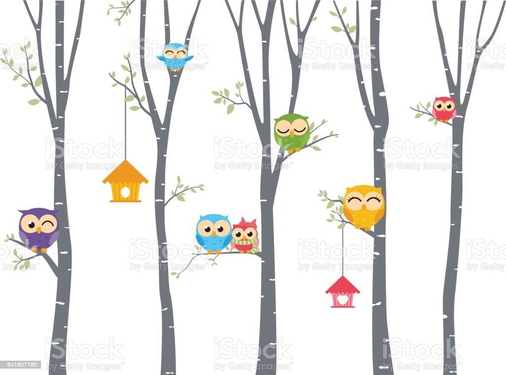 Happy Owl background with tree branch - ilustración de arte vectorial