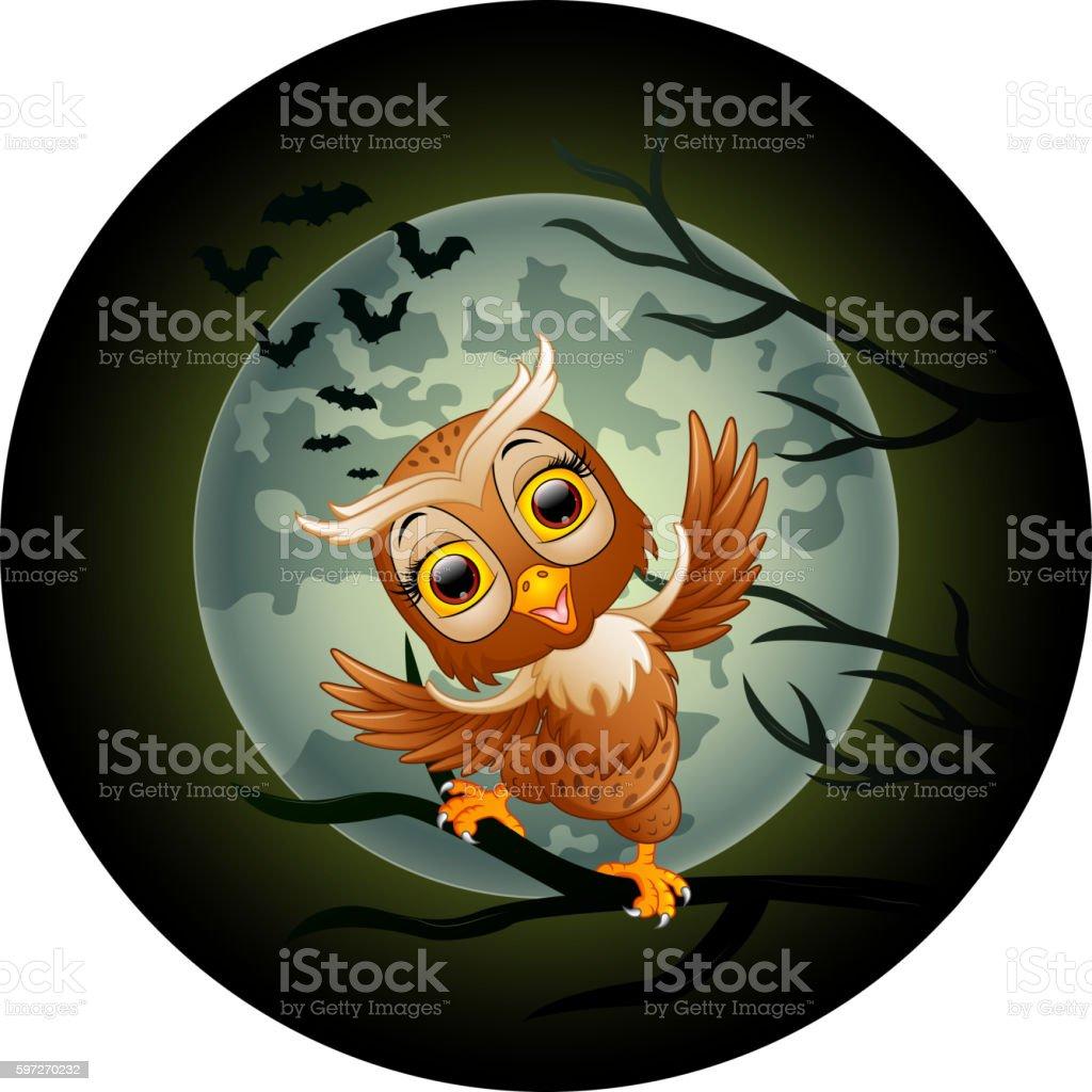 Happy owl cartoon standing on the branch Lizenzfreies happy owl cartoon standing on the branch stock vektor art und mehr bilder von ast - pflanzenbestandteil