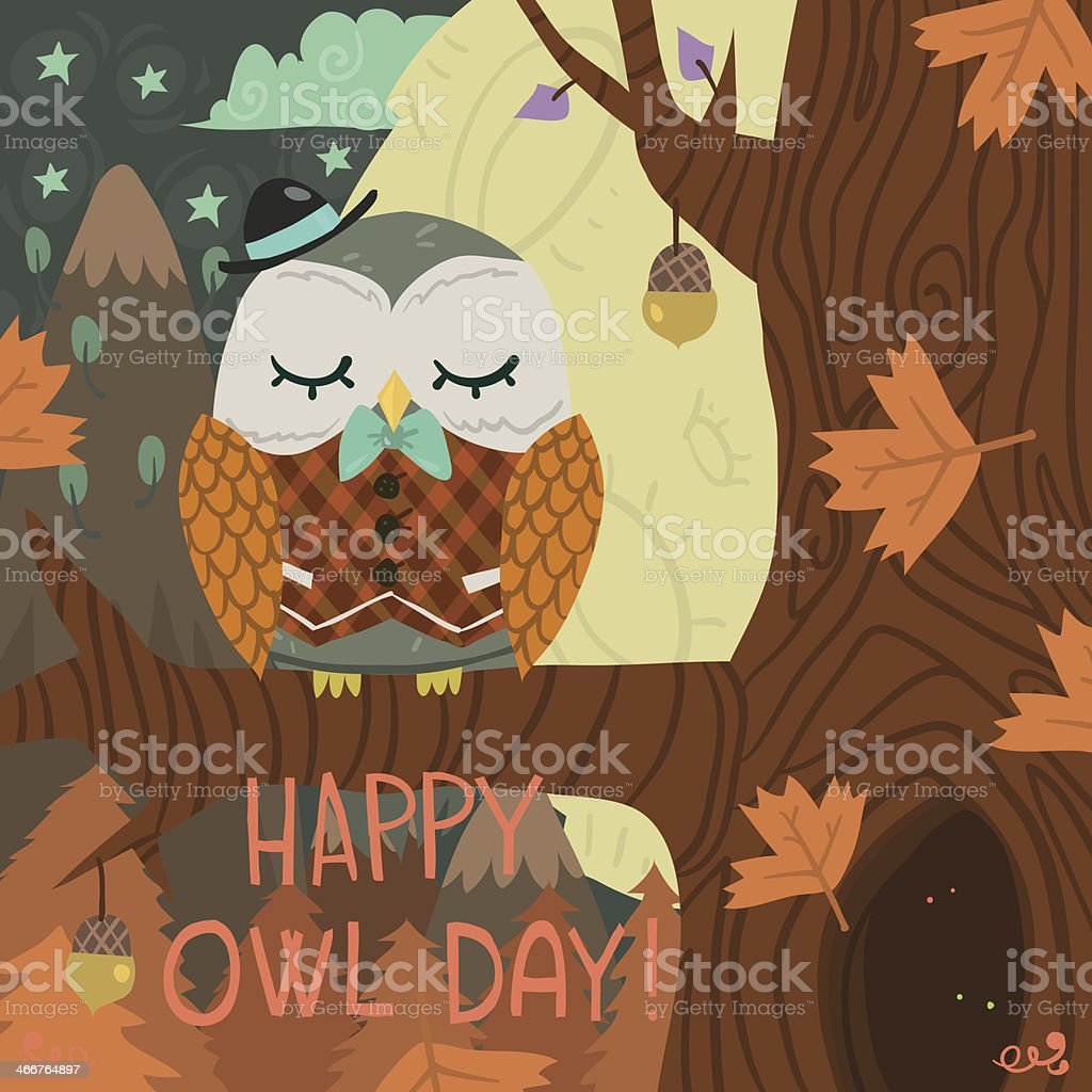 'Happy Owl Day' greeting card. vector art illustration