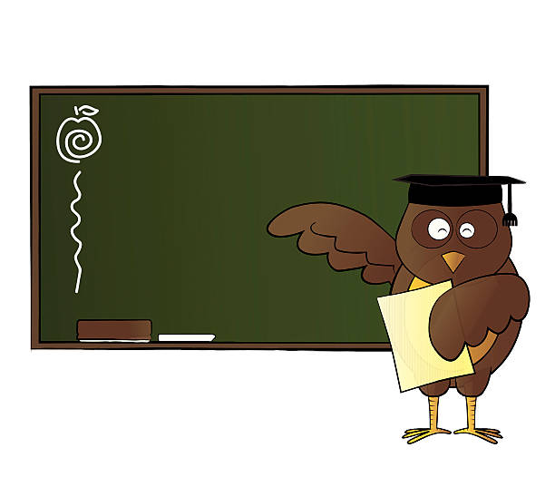 Happy owl teaching in class vector art illustration