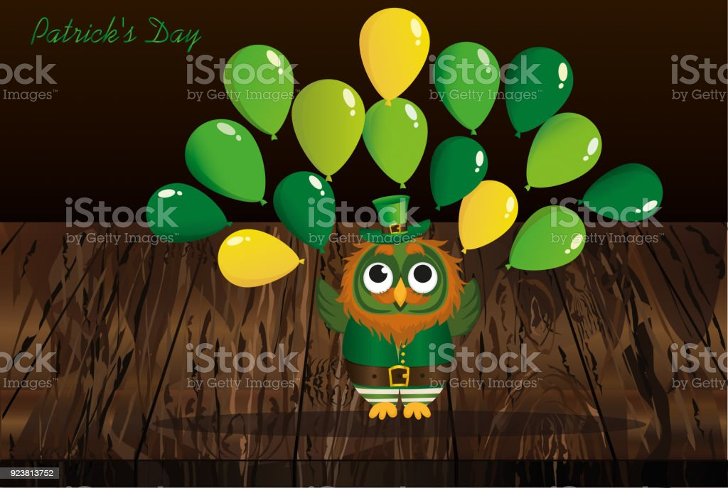 A happy owl with a beard in a suit and a hat on st patricks day a happy owl with a beard in a suit and a hat on st patricks stopboris Choice Image