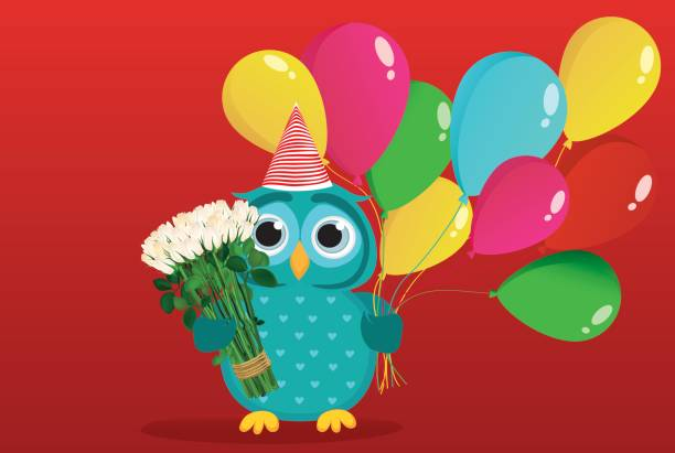 A happy owl with sultry balloons and a bouquet of white flowers on a background of colorful flags. Greeting card and birthday invitation. Vector vector art illustration