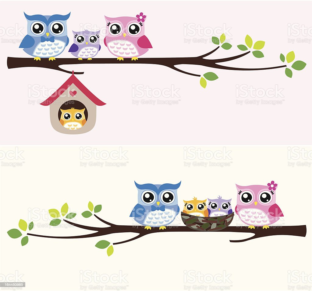 happy owls family sitting on a tree branch royalty-free stock vector art