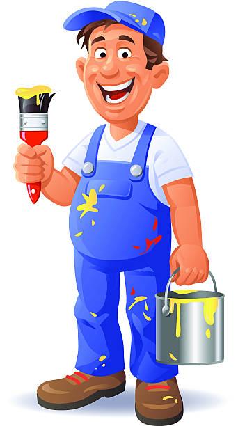 Happy Painter vector art illustration