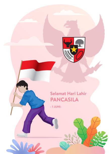 stockillustraties, clipart, cartoons en iconen met gelukkige dag van pancasila (de verjaardag van pancasila gefeliciteerd) - indonesische cultuur