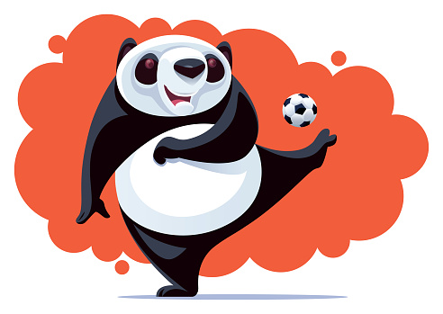 happy panda kicking soccer ball