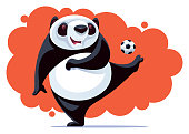 vector illustration of happy panda kicking soccer ball