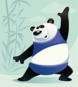 vector illustration of panda performing aerobics.