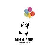 Happy Panda with balloon logo vector colorful