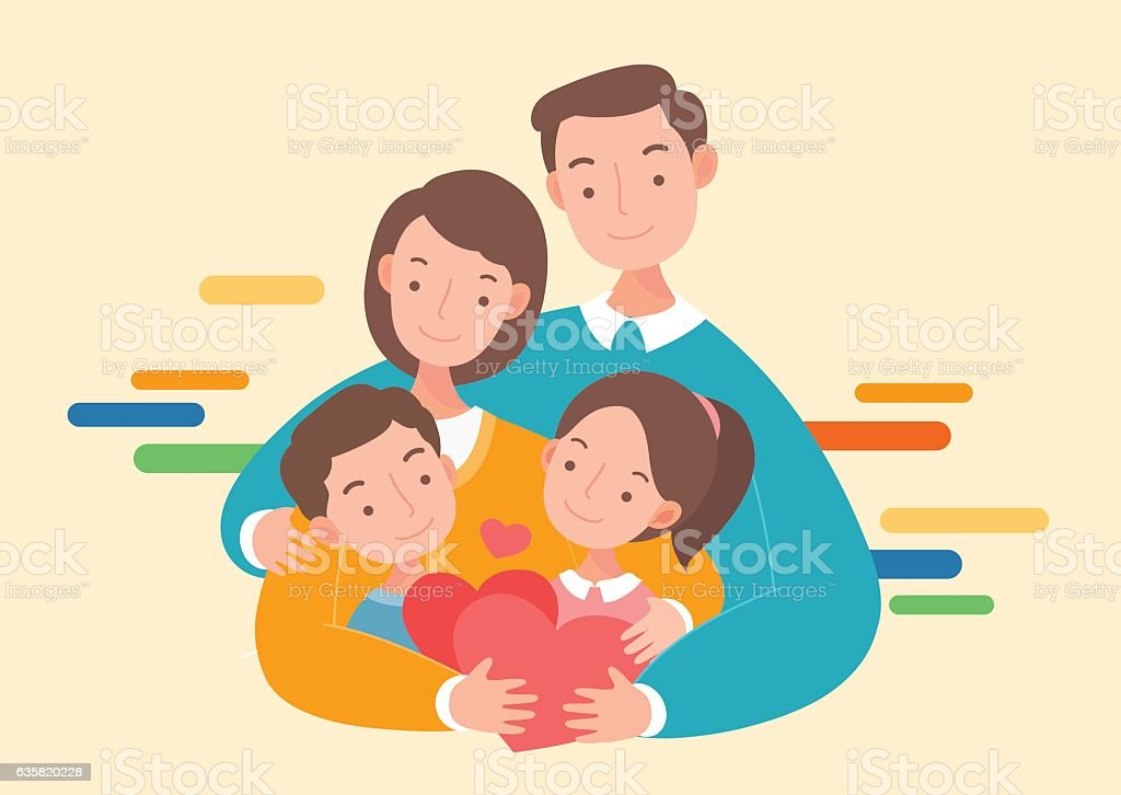 Happy Parents And Kids. Mother And Father With Children. Vector Art  Illustration