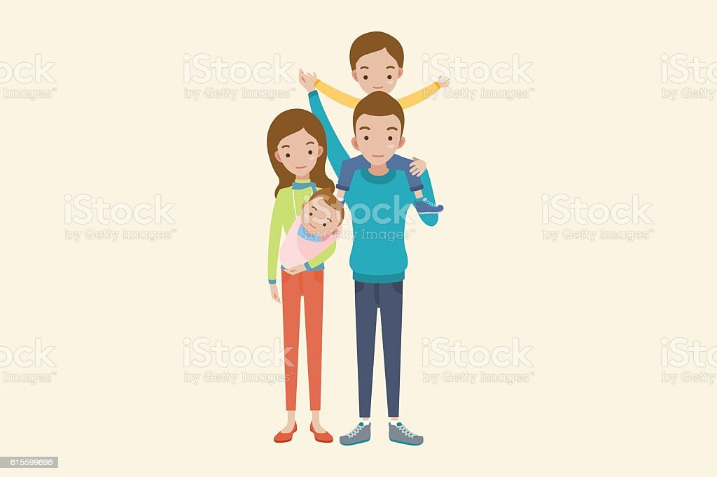 Happy parents and kids. vector art illustration