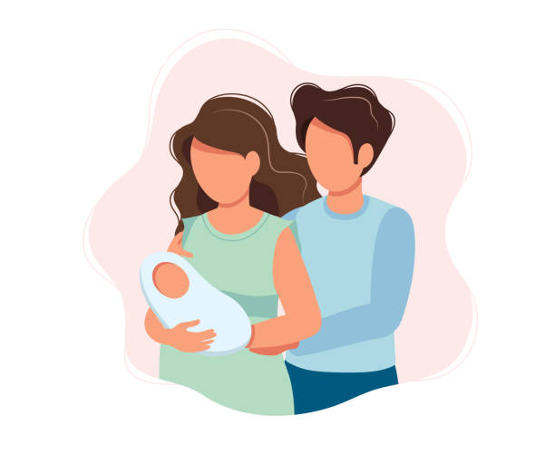 ilustraciones, imágenes clip art, dibujos animados e iconos de stock de padres felices-linda ilustración concepto de dibujos animados de una pareja sosteniendo bebé recién nacido, salud, crianza, medicina. ilustración vectorial - nuevo bebé