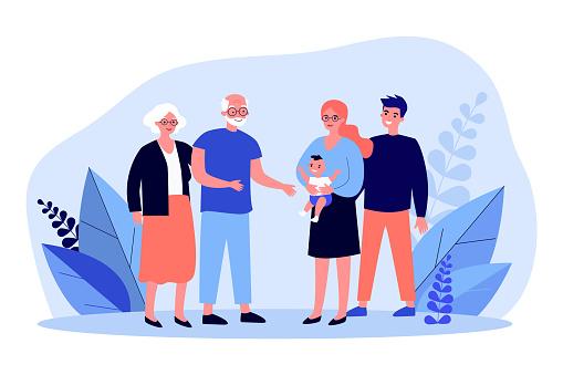 Happy parents showing newborn to grandparents