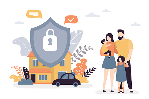 Happy parents with children. Family portrait. Property,car and Insurance protection shield. Assurance plan,